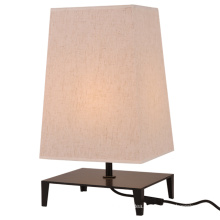 Nordic Decorative Square Fabric Shade Metal Base LED Table Lamp