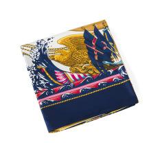 2018 Novo design de imitação de seda lenços de tecido das senhoras da moda barco à vela impresso cachecol 130x130 cm lenço quadrado
