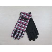 Зимняя мода тартан женщин платья перчатки