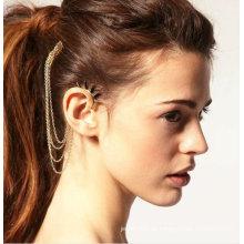 Statement hängende individuelle Ohrstulpe Ohrclip mit Kamm Quasten Ohrringe Schmuck EC36
