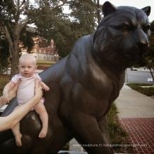 Taille de la vie chinoise en métal assis isu tiger garden statue