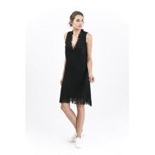 Frauen tiefes V-Ausschnitt ärmelloses Kleid