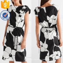 Vestido de algodón con estampado floral en blanco y negro de manga corta Mini vestido de verano Fabricación al por mayor de prendas de vestir de mujer (TA0277D)