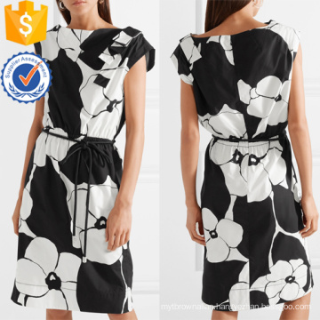 Floral-Print Cotton White And Black Short Sleeve Mini Summer Dress Manufacture Wholesale Fashion Women Apparel (TA0277D)