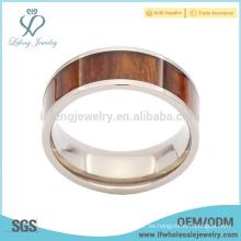 Niza grano de madera de titanio anillo de bodas para los hombres