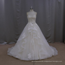 Pretty slim pretty a line jewel beaded short front long back wedding dress