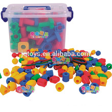 Hotsale kids plastic threading building block material toys