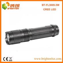 Venta de la fábrica Buena calidad Bolso de aluminio del tamaño 3watt cree pequeña linterna llevada de gran alcance con la batería 3AAA