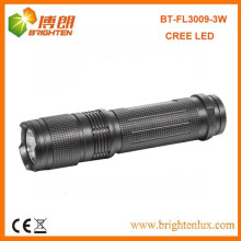 Factory Sale Good Quality Aluminum Pocket Size 3watt cree small powerful led flashlight with 3AAA Battery