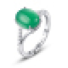 Woman′s 925 Sterling Silver Inlaid Green Agate Opening Ring