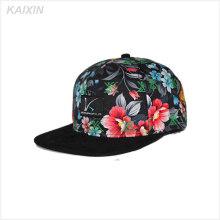 promocional customed impreso en todo el sombrero plat ala corta barato 5 paneles gorras