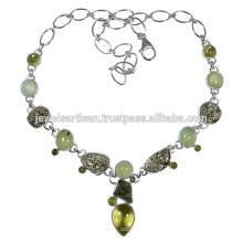 Lemon Quartz And Multi Gemstone 925 Sterling Silver Necklace