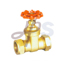 Brass compression gate valve for copper tube
