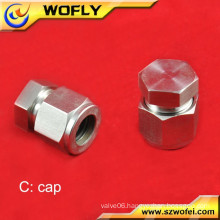 compression gas fitting pipe end cap for steel tube