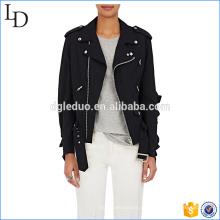 Gusseted ombros blazer jaqueta moda casual jaqueta preta para as mulheres