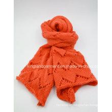 100% Acrylic Orange Zigzag Knitted Scarf