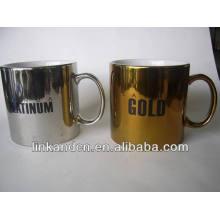 Haonai 23oz galvanoplastia de oro y plata de cerámica gruesa tazas