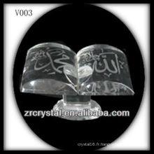 Livre en cristal K9 avec image de sablage