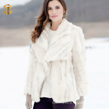 White Tight Tricotado Real Rabbit Fur Overcoat Girl Knitted Fur Jacket