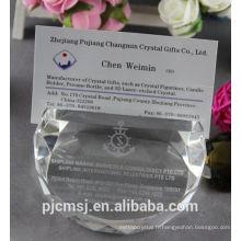 carte de visite en cristal transparente / support d'affaires pour des cadeaux promotionnels