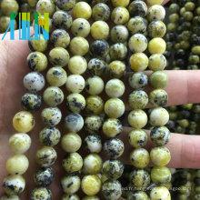 Perles de bijoux en pierre Prix de gros Perles rondes de pierres précieuses Naturel Yellow Howlite Semi Precious Stone