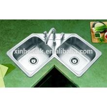 Dissipador de canto de aço inoxidável da cozinha do SUS 304 Topmounted com bacia dobro