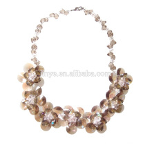 Handmade Light Brown Crystal Flower Statement Necklace