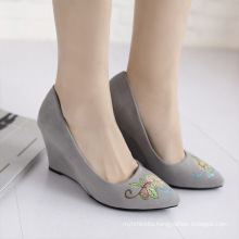 high quality embroidery shoes for women ladies wedge pumps