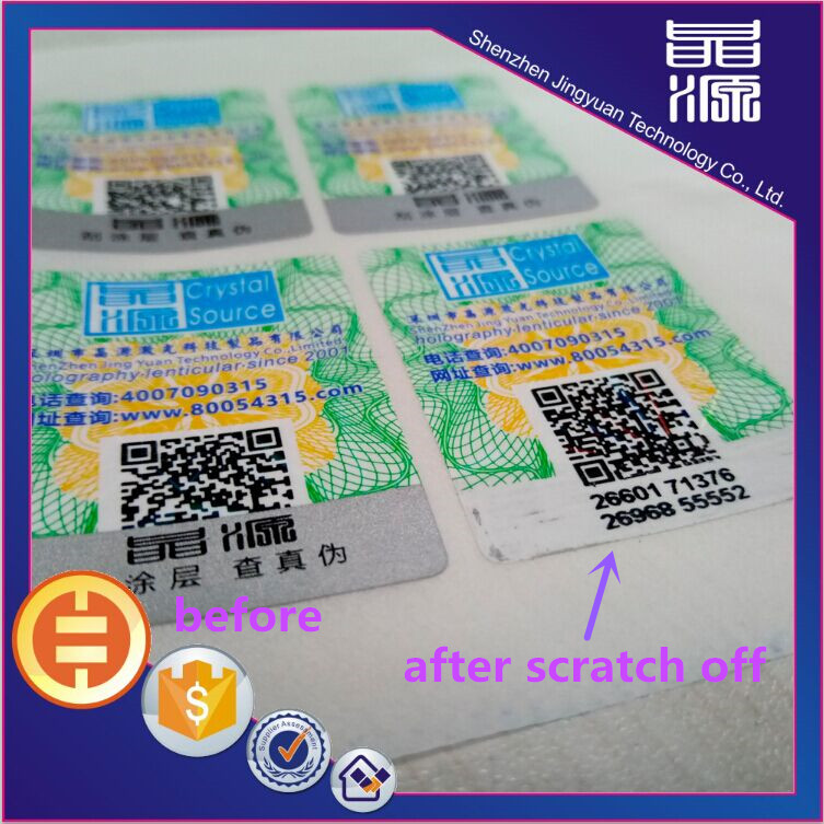 Scratch off hologram sticker silver coating labels