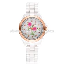 Mais recente impermeável cristal flor branco cerâmica banda de relógio