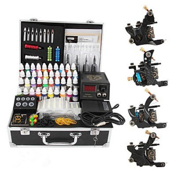Professional 4 Cast Iron Tattoo Gun Kit