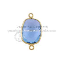 Hecho a mano Cuarzo azul Vermeil Gemstone bisel conectores Oro natural chapado bisel Gemstones Conectores
