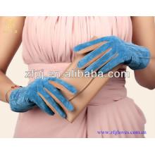 Top authentique porc suède concis dame bleu porc suède cuir gants
