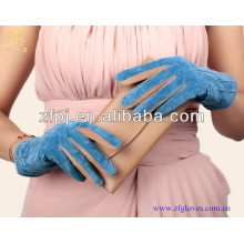 Top genuine pig suede concise lady blue pig suede leather gloves