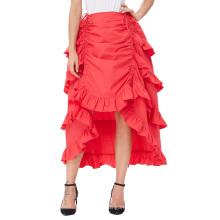 Belle Poque Mujer Traje De Algodón Rojo Retro Vintage Falda Gótica Falda Alta Baja BP000222-2