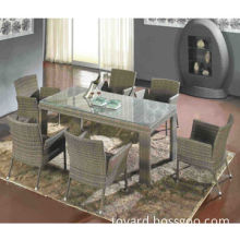 Outdoor dining set, garden patio furniture, aluminum frame, rattan woven, UV-resistant