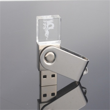 Crystal Swivel Usb Flash Drive with Custom Logo