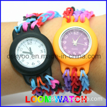 Promotional Rubber Bands Colorful Loom Watch With1 Watch 200 Bands 12 Clips 2 Hooks