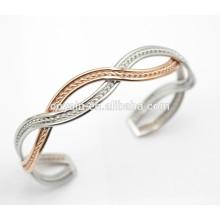 Fancy plata y rosa oro torcido brazalete brazalete rosa brazalete de oro