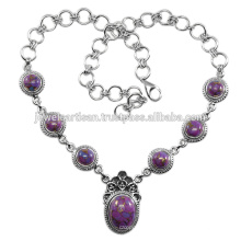 Purple Copper Turquoise Gemstone 925 Sterling Silver Necklace Jewelry