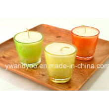 Vela perfumada de soja em vidro colorido