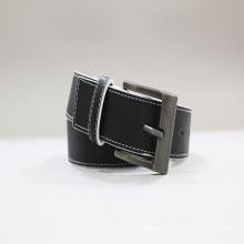 fashion black plain leather belts woman stitched