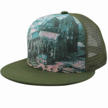 Custom Fashion Design 5 Panel Flat Brim Trucker Cap