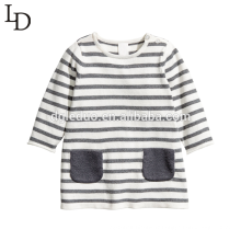 Confortable automne à manches longues rayé enfants coton enfants t-shirt