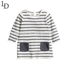 Комфортная осень с длинным рукавом полосатый Дети дети хлопок T рубашка
