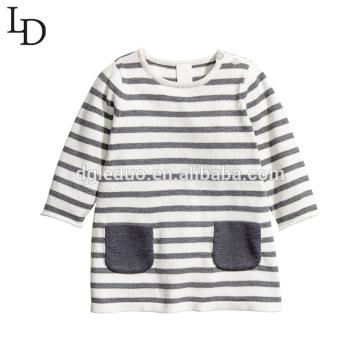 Confortável outono manga longa listrada crianças algodão crianças camiseta