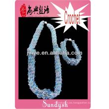 collar y pulsera alambre hecho a mano joyas de ganchillo