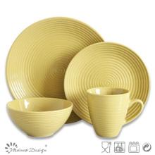 16PCS желтый круглый вихревой керамический набор ужин