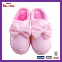 Rosa Farbe Satin Winter Hausschuhe für Mädchen