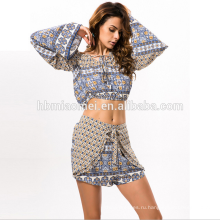 2017 сексуальные женщины платья из двух частей печать платье летом пляжная одежда Женская мода одежда одежда